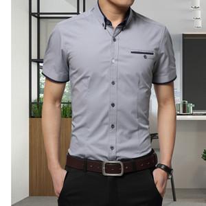 Erkekler Moda Marka erkek Yaz Iş Gömlek Kısa Kollu Turn-down Yaka Smokin Gömlek Gömlek Erkek Gömlek Büyük Boy 5XL