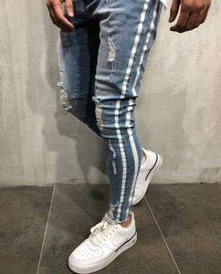 Lado rayado azul rasgado dril de algodón pantalones largos pantalones lavados DISTRESSED motorista refrescan los pantalones vaqueros para hombre delgado High Street