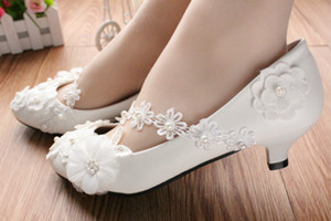White Flat Heel Women Pumps Flower Lace Wedding Shoes 3Cm 5Cm 8Cm Flats Ladies Bridal Shoes Cheap Wedding Shoes