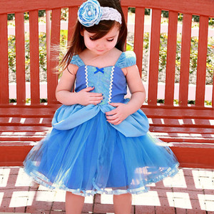 Summer Cinderella Princess Dress Waist Big Bow Lace Mesh Corrispondenza Cartoon Movie Tutu Dress Neonate Abiti ragazze Abbigliamento