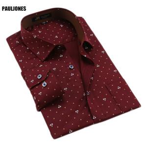 Paul Jones 118X printemps coton pour hommes de haute qualité à manches longues imprimé floral d'affaires Chemises Chine Vêtements hommes importation