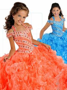 Vintage Cold Shoulder Девушки Pageant платья бальные платья оборками из органзы хрустальные с короткими рукавами из бисера цветок девочки платья Малыши