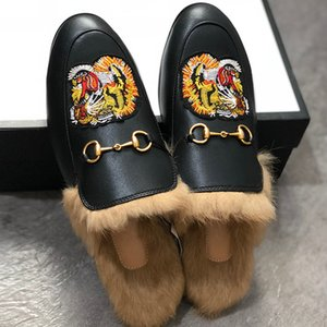 Men Mules Flats Fur Slippers Fashion Loafers Embroidery Princetown Tiger Shoes Furry Slides Muller Slipper Women Sandal with Box