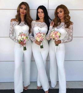 오프 어깨 레이스 Jumpsuit 웨딩 드레스 2018에 대 한 신부 들러리 드레스 명예 드레스 웨딩 게스트 바지 정장 맞춤 뒤로 BA8978