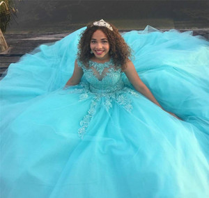 Sweet 16 Ages Gown Quinceanera Dresses Puffy Beads Sheer Neck Lace Applique Tulle Bodice Long Prom Dresses Pageant Formal Party Ball Custom