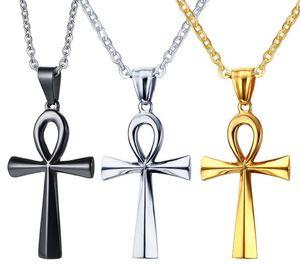 Paslanmaz Çelik Mısır Hayat Anahtar Ankh Çapraz Kolye Kolye Erkekler Kadınlar için, 3 Renk, Ücretsiz Zinciri 20