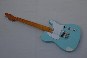 Ücretsiz kargo ! TELE katı vücut Gitar Telecaster Sky Blue renk OEM Retro tarzı Elektro Gitar stokta