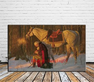 George Washington Prayer At Valley Forge, Canvas Parts Home Decor HD Stampato Arte moderna Pittura su tela (Senza cornice / Incorniciato)