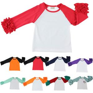 Crianças T-shirt Plissado Tops Menino Meninas Ruffle Top Raglan Manga Comprida Algodão Puro Em Torno Do Pescoço Da Primavera Outono 1-7 T