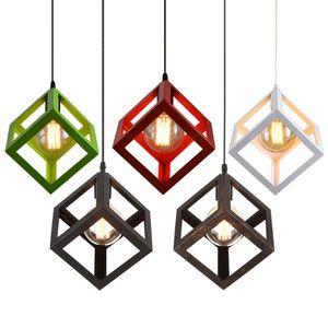 Luces colgantes del cubo de la vendimia hanglamp Northern Europe Industrial Iron Lightings para Cafe Bar Retro Edison Loft Lámparas colgantes