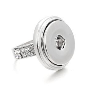 Ouverture réglable Noosa Button Ring avec ressort et diamants bagues en argent