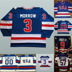 1980 Чудо на хоккейных изделиях для хоккея Mens 3 KEN MORROW 16 MARK Pavelch 20 Bob Suter Team USA Hockey Jersey Blue White