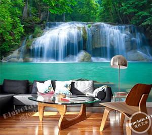 Muro Natureza Paisagem costume Mural Wallpaper Cachoeira Pintura de fundo Sala TV Wall Papers Home Decor Modern 3D