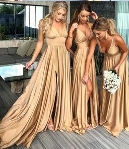 Сексуальная Deep V-образным вырезом Split BrideMaid платья длинные открытыми задними ручками крышки рукава свадьба платье невесты для свадебных платьев