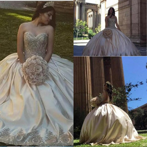 Beautiful Sweetheart Ball Gown Prom Dresses Appliques Beaded Satin Plus Size Sweet 16 Dresses Sexy Backless Quinceanera Dresses