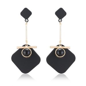 Silber Schwarz Acryl 4 Farbe Handgemachte Matt Weiß Gold Ohrringe Mode Kreative Vintage Städtischen Einfachen Kreis Rhombus Ohrringe OEM 2018