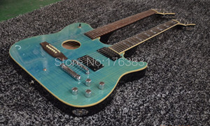 Ultimative Gewohnheit 1958 Slash Signed Guild Kreuzungen Double Neck Green Flame Maple Top E-Gitarre Akustikgitarre Dark Black Zurück