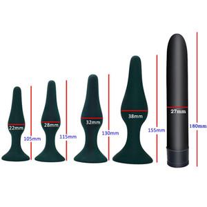 Vibrador anal Juguetes sexuales para adultos para pareja Long Butt Plug Sucker Mujeres Masturbador Expansión de ano Juguetes eróticos 5 piezas / juego