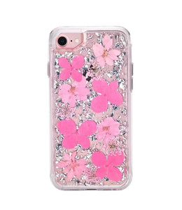 Shockproof Case with Real Flower For iPhone X 8 8 Plus 7 6 6s Galaxy Note 8 S9 + Defender Case Hard Back Cover Shell