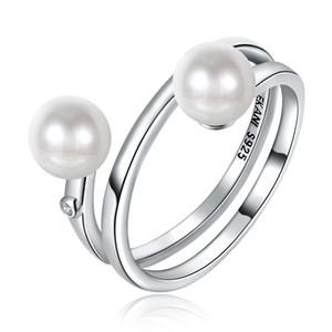 S925 Doppio tallone simulato perla Mid Knuckle Finger Stacking Ring misura USA n. 6