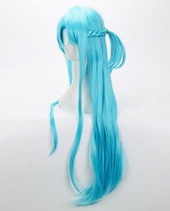 Envío gratis Sword Art Online peluca trenzada azul Cosplay peluca + gorra