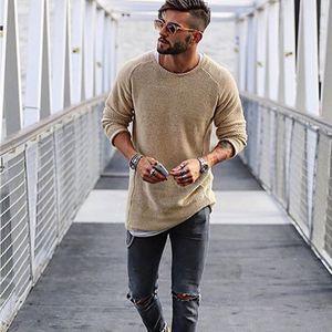 Herren-Rundhalsausschnitt Strickpulli Mann-beiläufige lange Sleeved Tops Winter-dünne Biker Street Solid Color Pullover Herren Kleidung