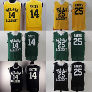 Mens BEL-AIR Academy Movie Jersey #14 Will Smith #25 Carlton Banks Basketball Jerseys Yellow Black Green High Quality Wholesale