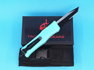Allvin Baby Blue Handle 7 Inch Small 616 Tactical Knife 440C Single Edge Tanto Half Serration Black Blade EDC Pocket Knives