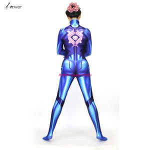 2018 Nueva impresión en 3D Samus Zero Suit Disfraces Cosplay ZSS Zentai Lycra Spandex Mujer Body Catsuit Adultos