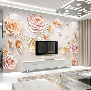 Rosa gravado Europeia 3D Flower Rose Mural Wallpaper foto para sala de TV fundo decoração da parede Murais Wallcoverings