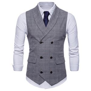 Chaleco de los hombres Británico traje informal chaleco de hombre de doble botonadura Hombre Hombre Tops Ropa Vestido Slim Fit Gilet Homme