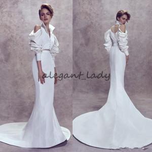 2018 Ashi Studio Plus Размер Русалка Свадебные платья Высокое шею Vestido de Novia Fashion Bridal Свадебное платье с длинными рукавами