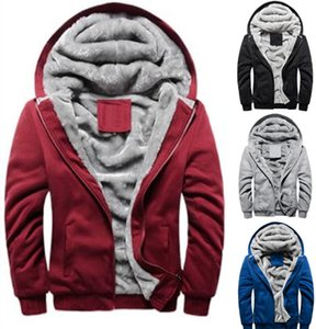 Men Jackets Coats Hooded Sweatshirt Autumn and Winter Long Sleeve Jacket Casual Hoodies Velvet Thick Plus Size Mens Clothing M-5XL