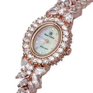 Royal Crown Jewelry Montre Femme Prong Cadre Cubique Zircon De Luxe En Cristal Plein Nacre Lady Clock Girl Coffret Cadeau S924