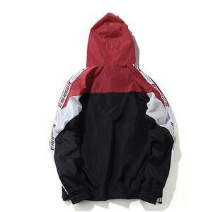 Bahar Erkek Renk Bloğu Patchwork Rüzgarlık Kapüşonlu Ceketler Erkek Hiphop Zip Up Eşofman Ceket Moda Streetwear