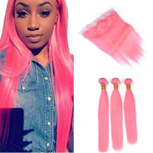 Pérou droite Rose cheveux humains Weave 3 Bundles avec dentelle Frontal fermeture Rose clair Extensions de cheveux et de dentelle fronteaux