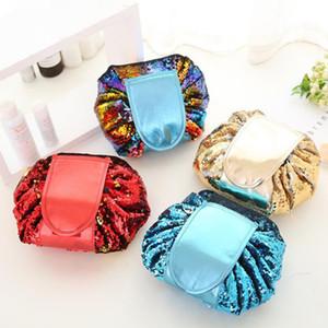 Nueva Mermaid Sequin de doble cara Lazy Cosmetic Bag Multifunción Cordón portátil Bolsas de maquillaje Bolsa de viaje de Bling Plegado Bolsas de cadena de almacenamiento