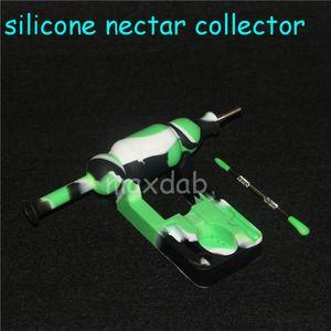 Silicone Nectar Collector Pen NC Kit 10 millimetri congiunta con GR2 titanio Nails silicone Bong con tappi oil rig Concentrato paglia tubo Tip Dab