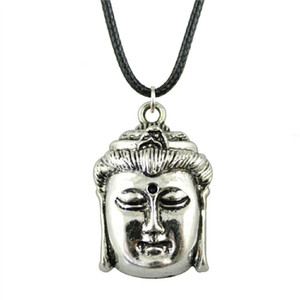 WYSIWYG 5 Pieces Leather Chain Necklaces Pendants Choker Collar Male Necklace Fashion Buddha Head 32x22mm N6-B12828