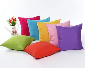 Sıcak Moda Kısa Stil Yastık Kapak 45 * 45 cm Katı Renk Yastık Kılıfı Ev Dekoratif Polyester Yastık Kılıfı 10 renkler