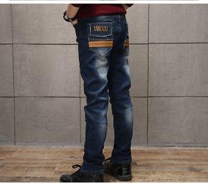 Famli Büyük Çocuklar Çocuk Kot Tam Boy Denim Pantolon Bahar sonbahar Moda Erkek Pantolon Rahat Çocuk Giyim 8 10 12 14 Yıl Y18103008