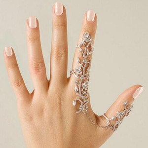 Мода Ювелирные Изделия Старинные Золото Серебро Звено Цепи Два Пальца Кольца Для Женщин Двойное Кольцо Сплава Листва Свадьба Любовь Anillos