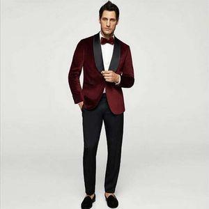 По индивидуальному заказу бордовые бархатные мужские костюмы свадьба черный платок отворот жениха смокинг производительность человек пиджак куртка выпускной этап 2 шт