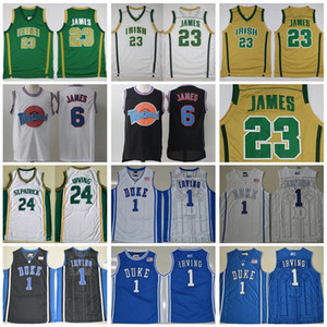 St Vincent Mary High School Irlandés 23 LeBron James Jerseys White Green St. Patrick Kyrie Irving Basketball Jersey Tune Squad Duke Blue Devils