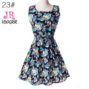 VDOGRIR Vintage impreso flor azul vestido de una línea para mujeres Mini vestido de verano