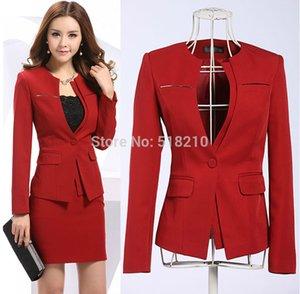 Plus 2015 Spring Spring Business Professional Wear Wear Shays Senhoras Senhoras Formal para Escritório Mulheres Vermelhas Mulheres Mais Novas 4XL TTUSO
