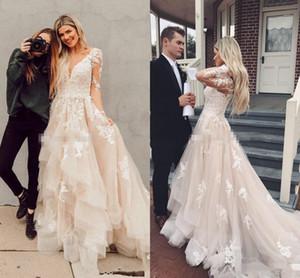 Ilusión mangas largas Boho vestidos de novia capas de tul apliques de encaje A-Line vestido nupcial rústico vestidos de boda del país personalizado