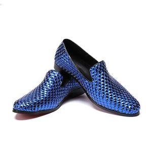 Uomo appartamenti del cuoio genuino di modo scarpe fatte a mano di moda estate fumatori Pantofole Wedding Celebrate Abito scarpe