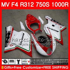 바디 용 MV Agusta F4 R312 750S 1000 R 750 1000CC 05 06 102HM10 750 S 1000R 312 1078 1 + 1 MA MV F4 2005 2006 05 06 페어링 핫 세일 화이트 키트