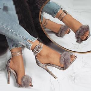 Luxus Pelz Schlangenkorn Knöchel Riemchen High Heels Damen Prom Party Schuhe Größe 35 bis 40